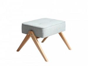 Taburet dreptunghiular gri din poliester si lemn 44x55 cm Vinc Light Grey Custom Form
