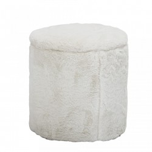 Taburet rotund alb din poliester 37 cm Minal Bloomingville Mini