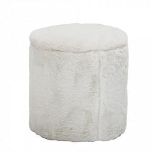 Taburet rotund alb din poliester 37 cm Minal Bloomingville