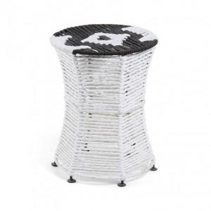 Taburet rotund alb/negru din metal si bumbac 30 cm Iliam La Forma