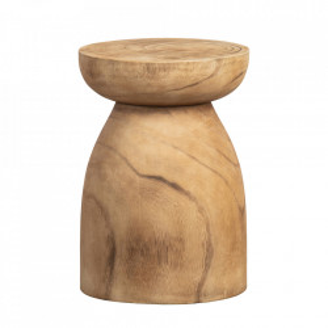 Taburet rotund maro din lemn de paulownia 28 cm Bink Woood