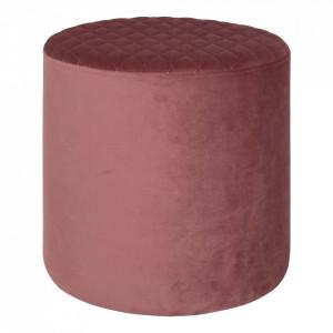 Taburet rotund roz din catifea si lemn 34 cm Ejby House Nordic