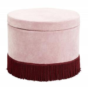 Taburet rotund roz/rosu burgund din bumbac si lemn 60 cm Reby Nordal