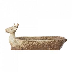 Tava decorativa crem din ceramica 12x32 cm Giraffe Bloomingville