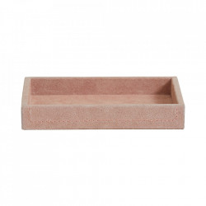Tava decorativa roz din piele si MDF 12x18 cm Samoa Nordal