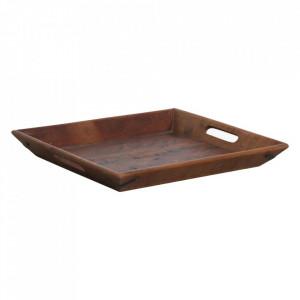 Tava patrata maro din lemn reciclat 40x40 cm Factory Raw Materials