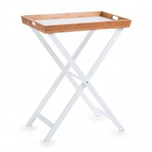 Tava pentru mic dejun dreptunghiulara alba/maro din MDF si lemn 40x60 cm Enrique Zeller