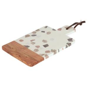 Tocator alb/maro din terrazzo si lemn 21x36 cm Temira Kave Home