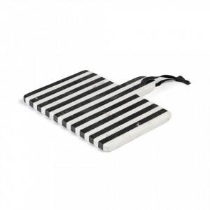 Tocator alb/negru din marmura 25x25 cm Bergman Kave Home