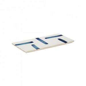 Tocator dreptunghiular alb/albastru din portelan 15x31 cm Porcelain Plate Hubsch