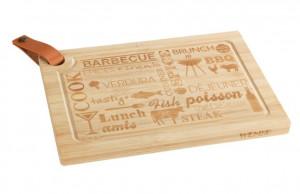 Tocator dreptunghiular maro din lemn si piele 23x33 cm Steak Board Wenko