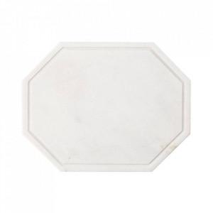 Tocator octagonal alb din marmura 25x32,5 cm Wonder Bolia