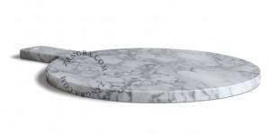 Tocator rotund alb/gri din marmura 30x40 cm Powell Zangra