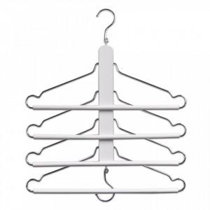 Umeras multiplu alb/argintiu din lemn si metal Beech Chromed Hanger Zeller