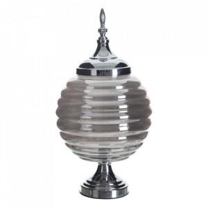 Vas decorativ argintiu din metal si sticla 47 cm Tibra Ixia