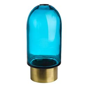 Vaza albastra/maro alama din sticla si metal 26 cm Belt Bullet Pols Potten