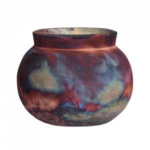 Vaza decorativa aramie din ceramica 17 cm Raku Versmissen