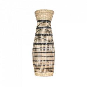 Vaza decorativa maro/neagra din bambus si paie 36 cm Hugo Opjet Paris
