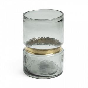 Vaza sticla gri cu inel alama 23.5 cm Jambala La Forma