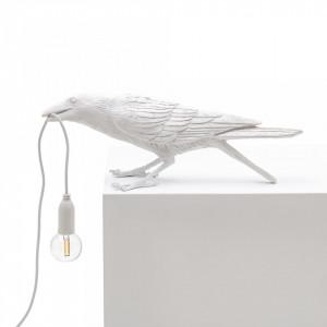 Veioza alba din rasina 10,5 cm Bird Playing Seletti