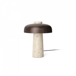 Veioza crem/aramie din aluminiu si travertin cu LED 30 cm Reverse Menu
