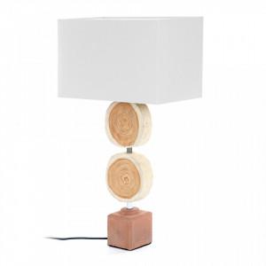 Veioza din lemn cu abajur alb din bumbac 67 cm Myriad Kave Home