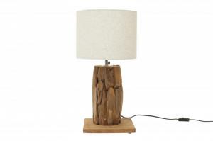 Veioza maro/alba din lemn si textil 59 cm Roots Invicta Interior