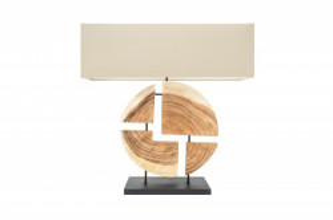 Veioza maro/bej din lemn si in 79 cm Organic Living Invicta Interior
