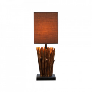 Veioza maro/gri din in si lemn 45 cm Euphoria Invicta Interior