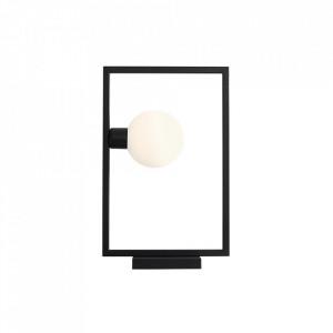 Veioza neagra/alba din metal si sticla 45 cm Frame Aldex