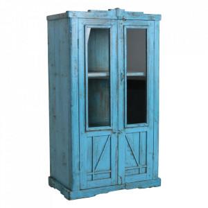 Vitrina albastra din lemn si sticla 138 cm Tamti Raw Materials