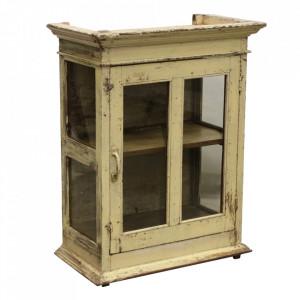 Vitrina galbena din lemn si sticla 86 cm Arkas Raw Materials