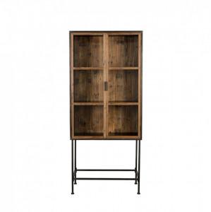 Vitrina neagra/maro din lemn si metal 181 cm Berlin Dutchbone