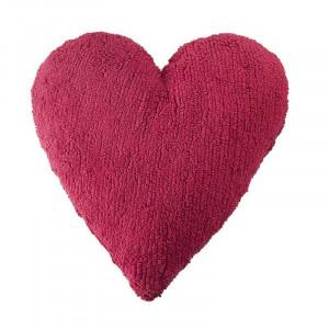 Perna decorativa fucsia din bumbac pentru copii 47x50 cm Heart Fucshia Lorena Canals