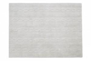 Covor dreptunghiular gri din bumbac 120x160 cm Braids Pearl Grey Medium Lorena Canals