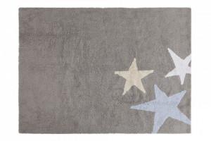 Covor dreptunghiular gri/albastru din bumbac 120x160 cm Three Stars Grey Blue Lorena Canals