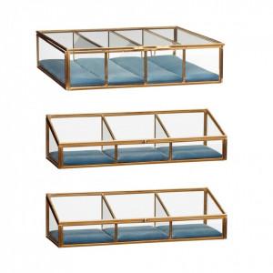 Set 3 cutii din alama si sticla pentru bijuterii Blue Hubsch