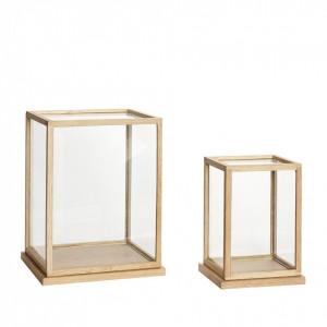 Set 2 cutii din sticla si lemn Nature Hubsch