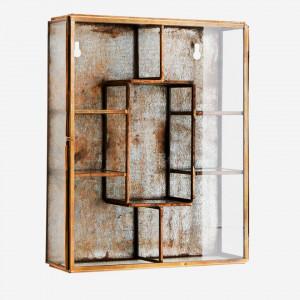 Vitrina din fier si sticla pentru perete 21 cm Liam Brass Madam Stoltz