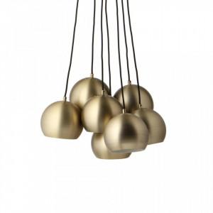 Lustra maro alama din metal cu 7 becuri Antique Brass Ball Frandsen Lighting