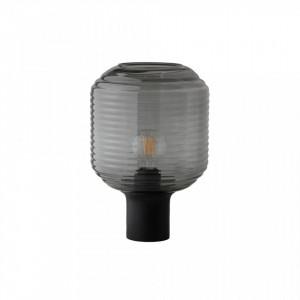 Veioza neagra din sticla si lemn 38 cm Honey Frandsen Lighting