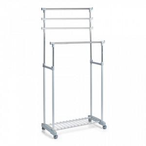Suport gri/argintiu din metal si plastic 170 cm pentru umerase Roll Clothes Two Zeller