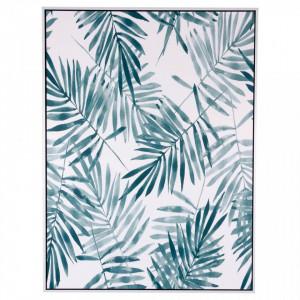 Tablou alb/albastru din MDF si polistiren 60x80 cm Blue Palm Somcasa