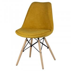 Scaun galben mustar din lemn si textil Lindy Mustard Somcasa