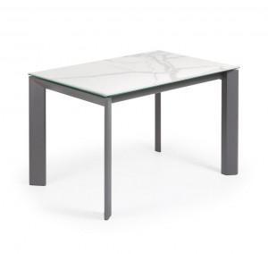 Masa dining extensibila dreptunghiulara gri din otel si portelan 80x(120)180 cm Atta Graphite Marble La Forma