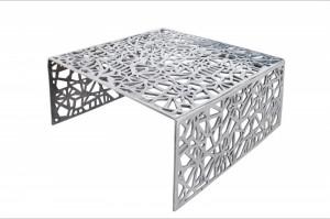 Masa argintie din aluminiu pentru cafea 60x60 cm Abstract Invicta Interior