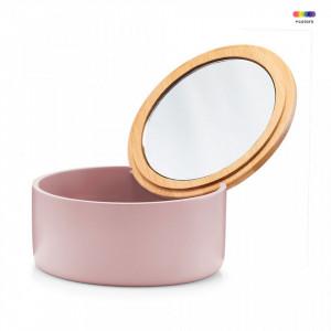 Cutie roz/maro din polirasina si sticla 6,5x13,3 cm pentru bijuterii Jewelery Mirror Zeller