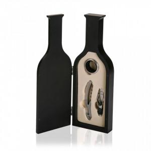 Set accesorii vin 3 piese argintii/negre din metal si lemn Wood Bottle Versa Home