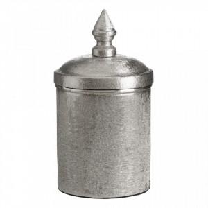 Recipient argintiu din aluminiu cu capac 11,5x22 cm Camina M Ixia