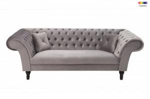 Canapea gri argintiu din poliester si lemn 230 cm Euphoria Invicta Interior